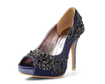 Barcelona Navy Blue Lace Custom Made Heel, Blue Glitter Heel Custom Made Shoe, Navy Heels with Black Lace
