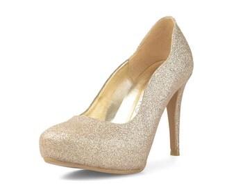 Enya Custom Made Glitter Heels, Glitter Court Heels, Gold Glitter Wedding Heels, Gold Glitter Bridal Heels