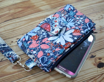 Pearl Wallet Clutch, Smartphone wallet, cloth wallet, navy and pink wallet - Ready to Ship