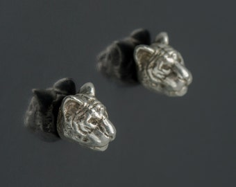 SALE Solid sterling tiger head studs. Sterling silver tiger earrings. Sterling tiger posts. Animal head earrings. Feline studs.