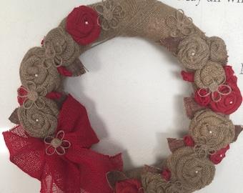 Rosie Burlap Door Wreath