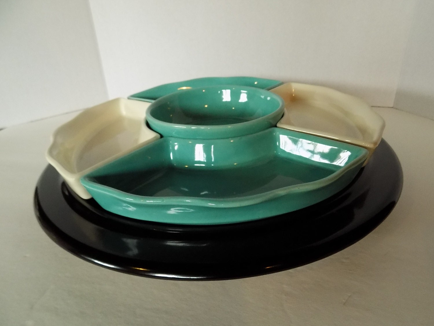 Vintage turquoise and gold lazy susan