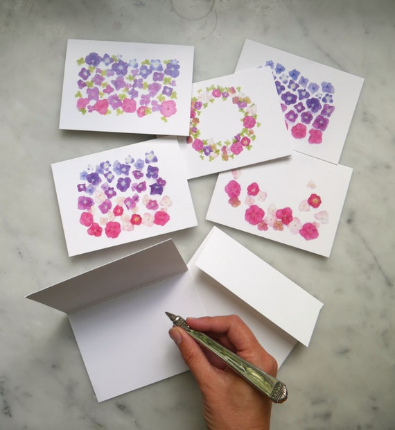 Hot pink hydrangea party ~ note cards ~ stationery set