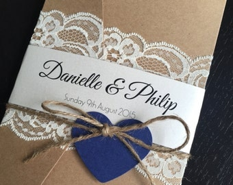 Vintage Lace Pocket Wedding Invitations