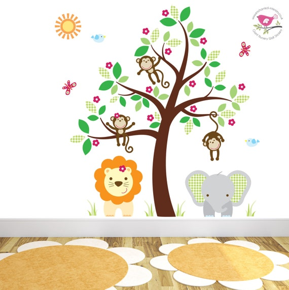 Jungle wall decal feat friendly safari by for Baby jungle safari wall mural