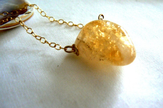 Citrine gold pendant- Jewelry stone wire wrapped gemstone necklace- Boho gold filled citrine necklace- Women crystal necklace