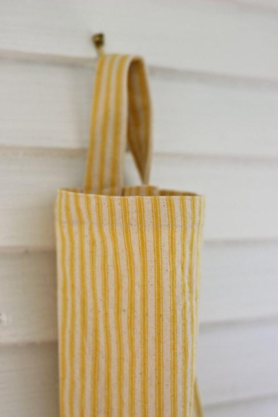 Sunny yellow striped ticking grocery bag holder, plastic bag holder, bag organizer, kitchen bag holder, kitchen garbage bag organizer