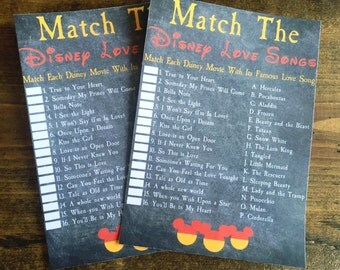 Bridal Shower Game, Match the Love Songs, Disney Bridal Shower, Disney Love songs game, diy Disney Songs, disney bride, disney game, disney
