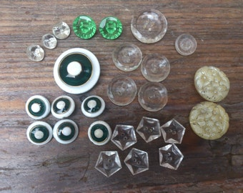 Collection of vintage buttons, green and white enamel and clear