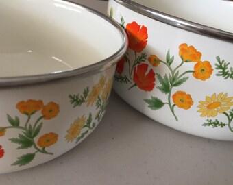 2 Vintage Enamel Bowls with Orange Flowers