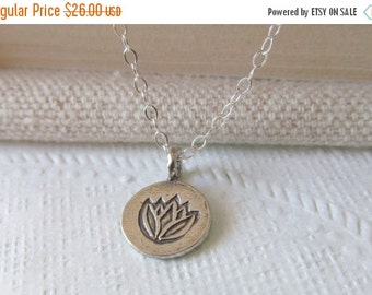 Lotus Flower Necklace, Sterling Silver Necklace Gift for Her
