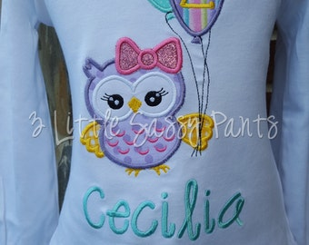 Owl Birthday Shirt-Girls Birthday Shirt- Custom Applique Birthday Shirt- Embroidered- Owl- 2nd Birthday Shirt- 1st Birthday Shirt