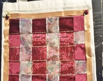 Ribbon decorated smal canvas tote bag
