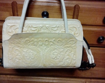 Vintage Mexican Tooled Leather Handbag