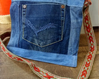 jeans shoulder bag with woven strap