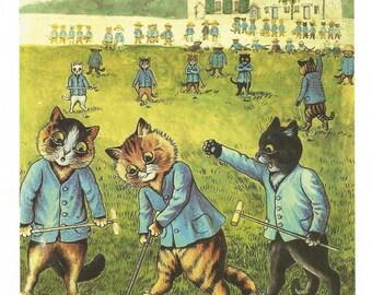 Louis Wain Golfing Cats Golf Cat Print Childrens Print 1983 Colour Color Print Wall Art Nursery Art Kids Art Wall Art Nursery Decor