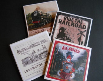 Trains ~ Vintage Trains ~ Railroad Coasters ~ Ceramic Tile Coasters ~ Train Collector ~ Retro Trains ~ Coaster Set ~ Housewarming Gift
