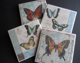 Butterflies ~ Butterfly Coasters ~ Ceramic Tile Coasters ~ Housewarming Gift ~ Nature Lover ~ Shower Gift ~ Coaster Set ~ Home Decor