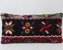kilim lumbar pillow black decorative pillow long throw pillow pastel kilim pillow western home decor antique pillow case bench pillow 29405