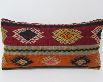 decorative pillow floor lumbar pillow kilim pillow toss pillow cover bench pillow sham couch pillow case red green orange kilim pillow 22957