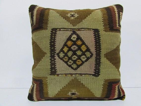 Large Brown Decorative Pillows : 20x20 kilim pillow 20x20 brown decorative pillow beige throw