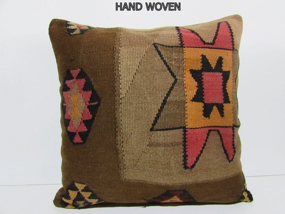kilim pillow 24x24 brown pillow cover brown throw pillow beige