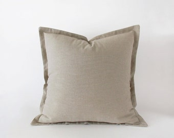 Light taupe decorative pillow cover in 16x16 inches - 18x18 inches - 20x20 inches and more sizes, neutral cushion cover with a flange