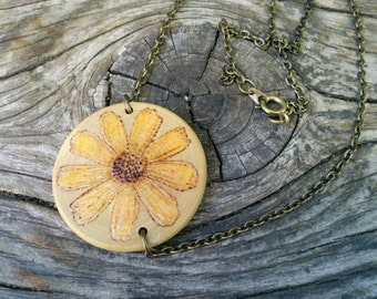 FireSketches© Wooden Daisey Flower Pendant