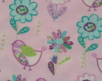 Lavender, Bright Green and Turquoise Floral and Bird print banket gift set - comes with three coordinating burp cloths.