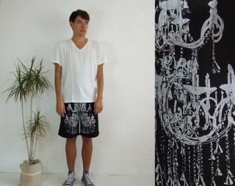 Men's black chandelier printed short