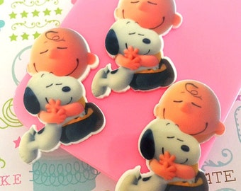 27mm Snoopy Flatback Resin Cabochon 4 pcs