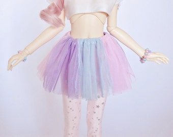 BJD SD Pastel Rainbow Skirt