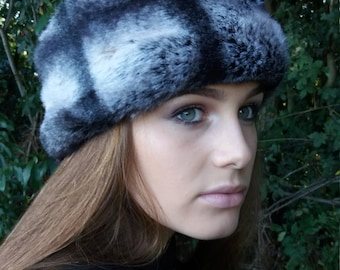 Beautiful Short Grey Faux Fur Headband / Neckwarmer / Earwarmer Handmade in Lancashire England