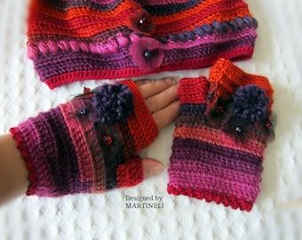 Colorful Crochet Gloves Crochet Arm Warmer Fingerless Mittens Crochet Wrist Warmers Appliqued Gloves Crochet Wrist Warmer Unique Crochet