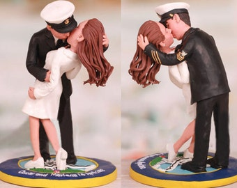 Personalised wedding cake topper - classic Nurse kissed by sailor theme (Free shipping)