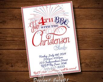 4th Of July BIRTHDAY INVITATION, July 4th Invitation, Invitation, BBQ, Card, Party Invitation, My Celebration Shoppe, 4th Of July Invitation