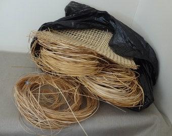 Huge Lot Super Fine Caning Weaving Basketry Pieces Random Lengths Plus Sample