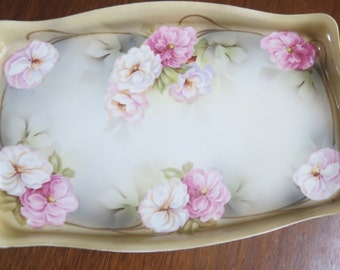 Antique Wheelock Prussia Porcelain Dresser Tray Pink Roses