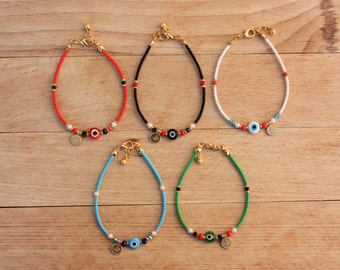 Wholesale Delicate   Evil Eye Bracelets, Seed Bead Thin  Bracelets, Turkish Jewelry