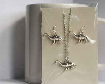 Brontosaurus Silver Dinosaur Necklace and Stainless Steel Posts or Clip On Earrings Set