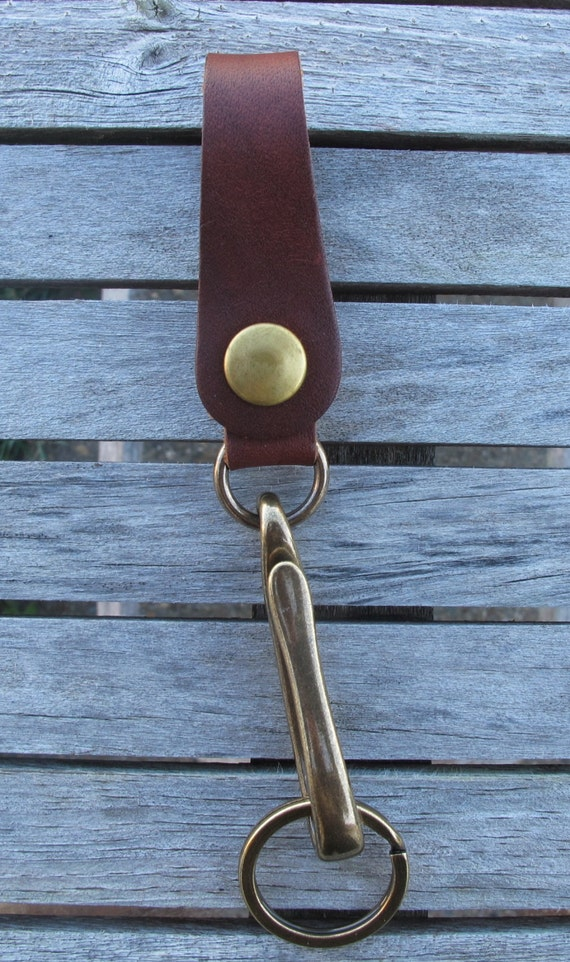The traveler belt loop fish hook key chain horween brown for Fish hook belt