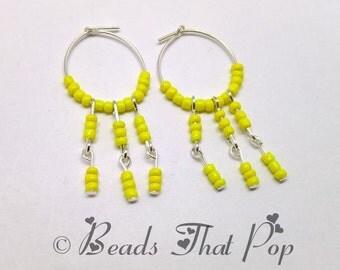 Yellow Dangle Earrings, Yellow Seed Bead Earrings, Beaded Earrings, Handmade in the USA, Bright Earrings, Great Gift! One of a Kind!!