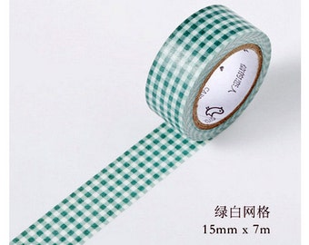 15mmX7M Primary Green White Check Diary Washi Tape Masking Tape