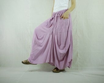 Boho Funky Hippie Light Purple Cotton Skirt With Asymmetrical Bottom Hem With 2 Patched Pockets -SK007
