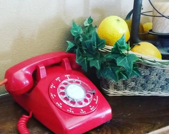 Vintage 1970s Stromberg-Carlson RED Rotary Dial Phone - Red Rotary Phone - Red Hot Dial Phone