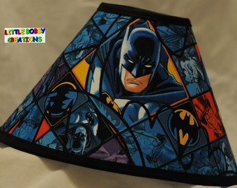 Super Heros Batman Lamp Shade - You Choose the TRIM COLOR! (10 Sizes to Choose From)