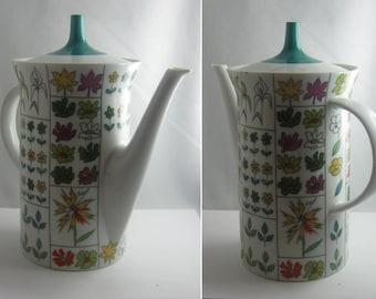 Rosenthal Germany. Coffeepot. Decor Berlin Spring (Emilio Pucci). Form Berlin Tegel (Hans Theo Baumann). Modernist. 1960s. VINTAGE