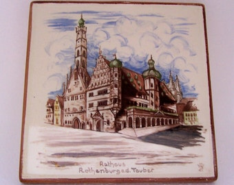 Vintage Ceramic Tile Trivet Germany Souvenir Rothenburg ob der Tauber Town Hall