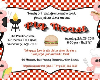 Pig Roast, BBQ, Cook Out, Invitations, Printable, DIY