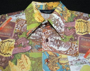 """Vintage 70s """"MARCO by William Gary"""" Vintage WINE Label Connoisseur Novelty Photoprint Shirt. EXC. L"""
